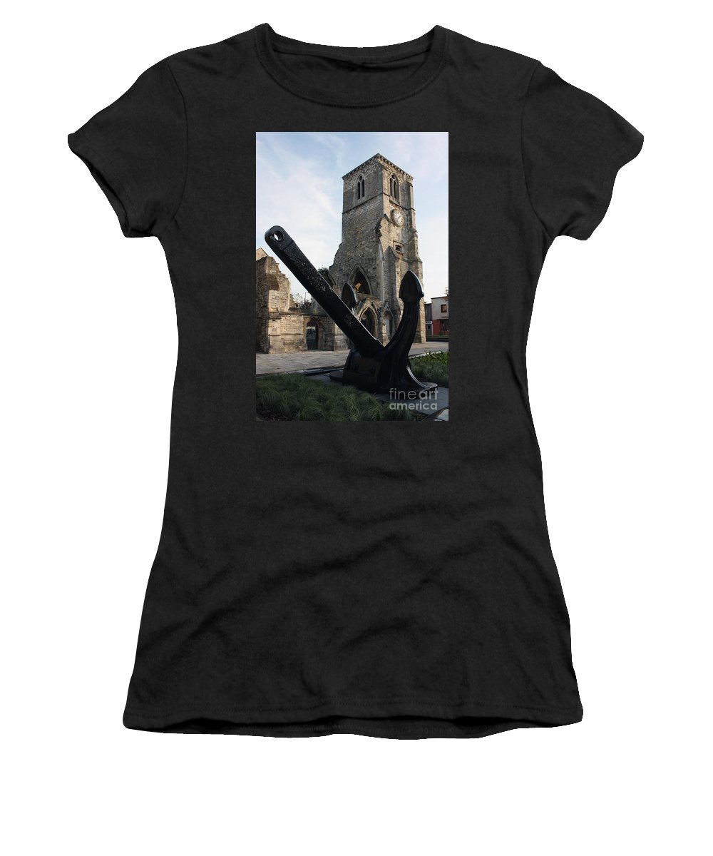 Qe2 Women's T-Shirt (Athletic Fit) featuring the photograph Merchant Sailors Memorial With Q.e.2 Anchor by Terri Waters
