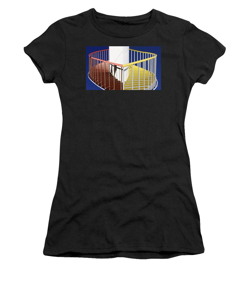 Red Women's T-Shirt (Athletic Fit) featuring the photograph Merging Steps by Robert Woodward