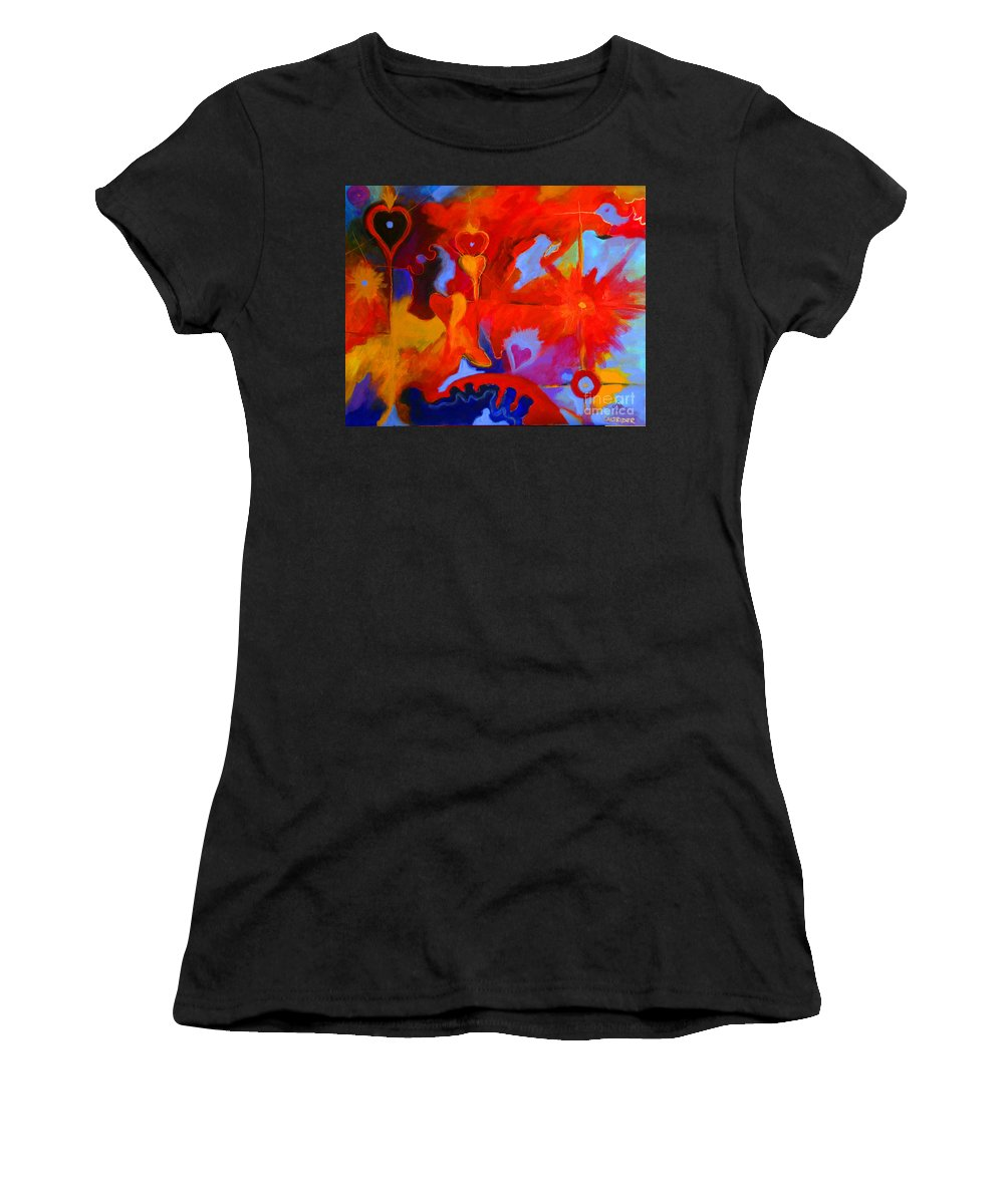 Abstract Women's T-Shirt featuring the painting Message Of Love by Alison Caltrider