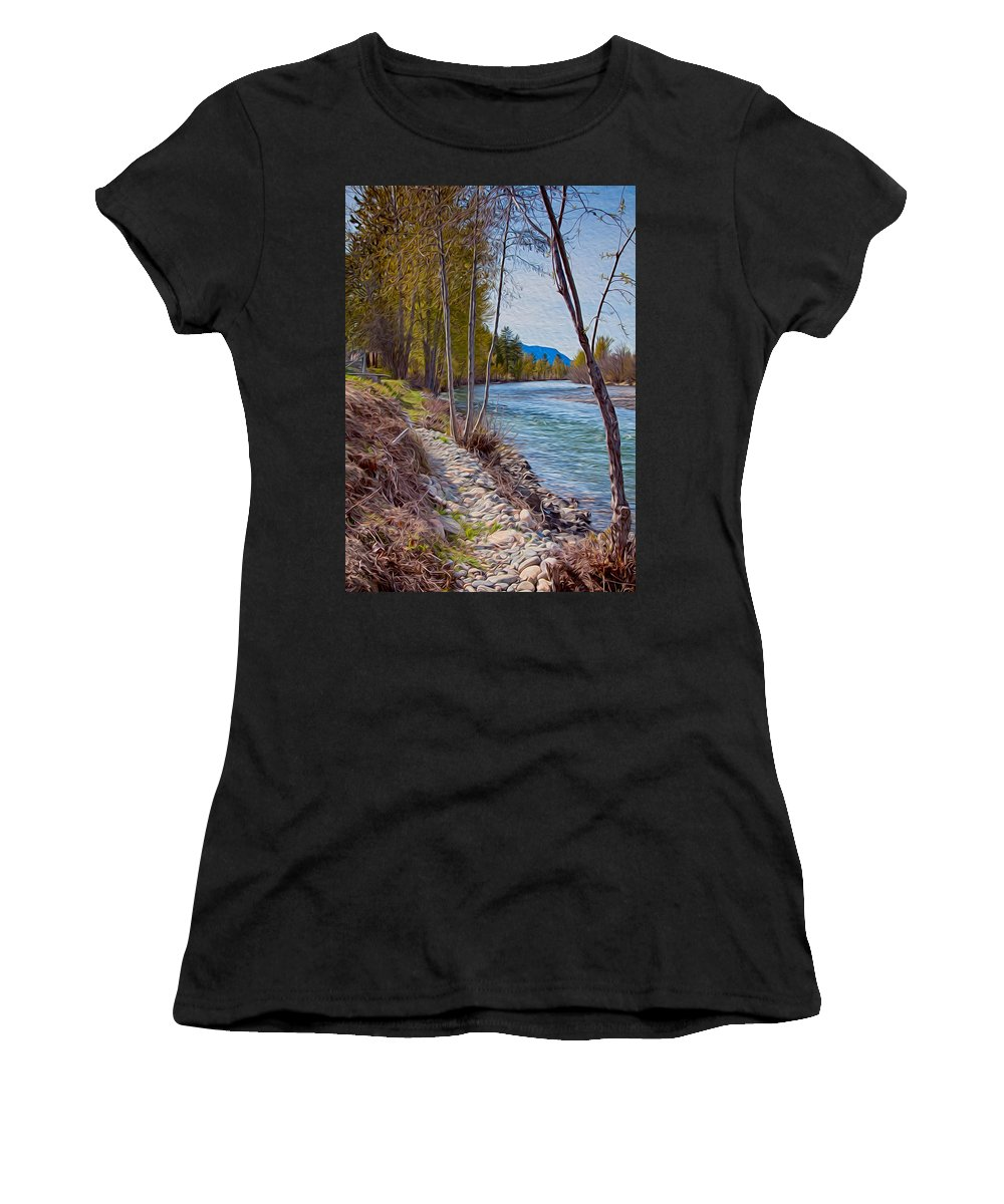 North Cascades Women's T-Shirt (Athletic Fit) featuring the painting Methow River Coming From Mazama by Omaste Witkowski