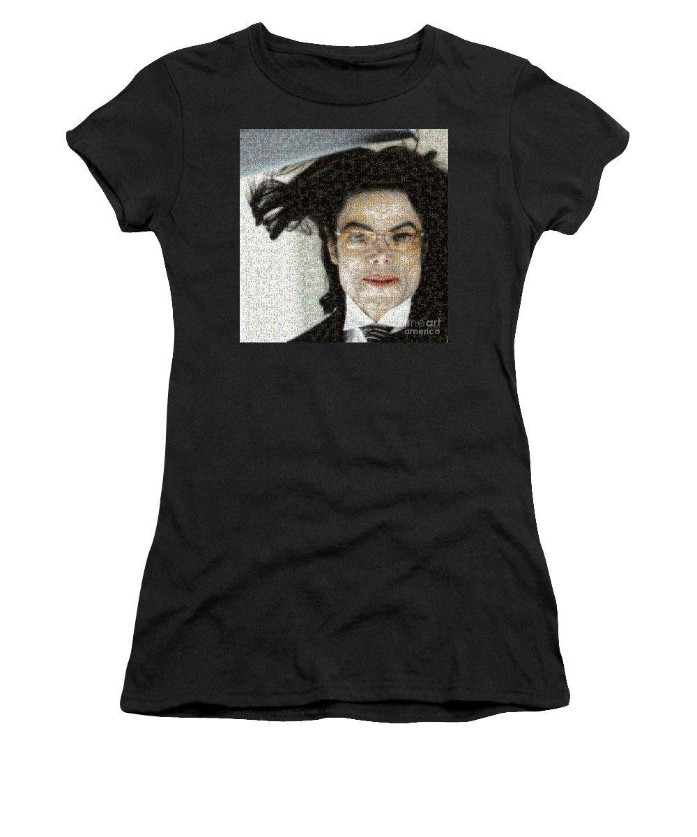 Michale Women's T-Shirt featuring the digital art Michael Jackson - Fly Away Hair Mosaic by Paulette B Wright