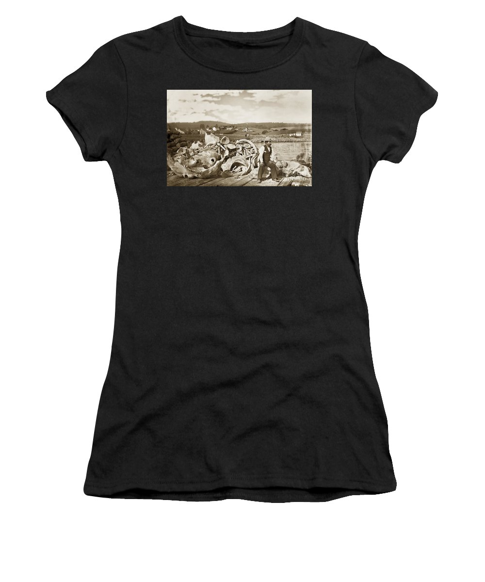 Michael Noon Women's T-Shirt (Athletic Fit) featuring the photograph Michael Noon Sitting On A Pile Of Whale Bones Monterey Wharf Circa 1896 by California Views Archives Mr Pat Hathaway Archives
