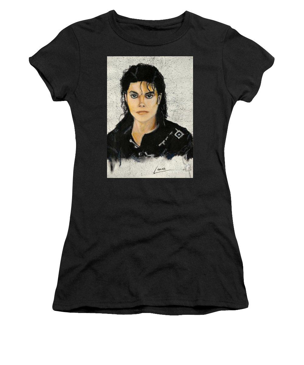 Michael Jackson Women's T-Shirt (Athletic Fit) featuring the painting Michaeljacksoninoilpastel by Lance Sheridan-Peel
