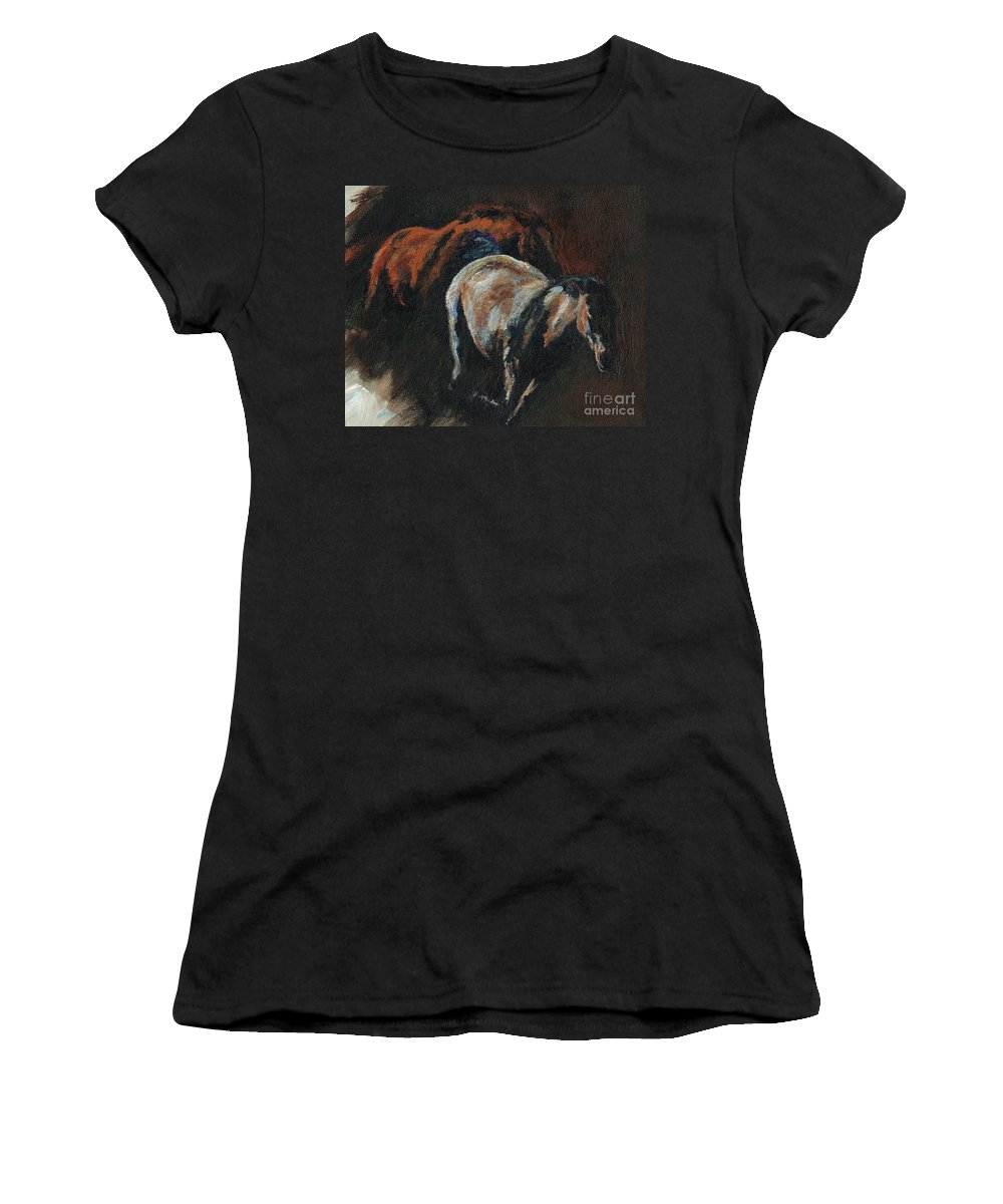Horses Women's T-Shirt (Athletic Fit) featuring the painting Midnight Run by Frances Marino