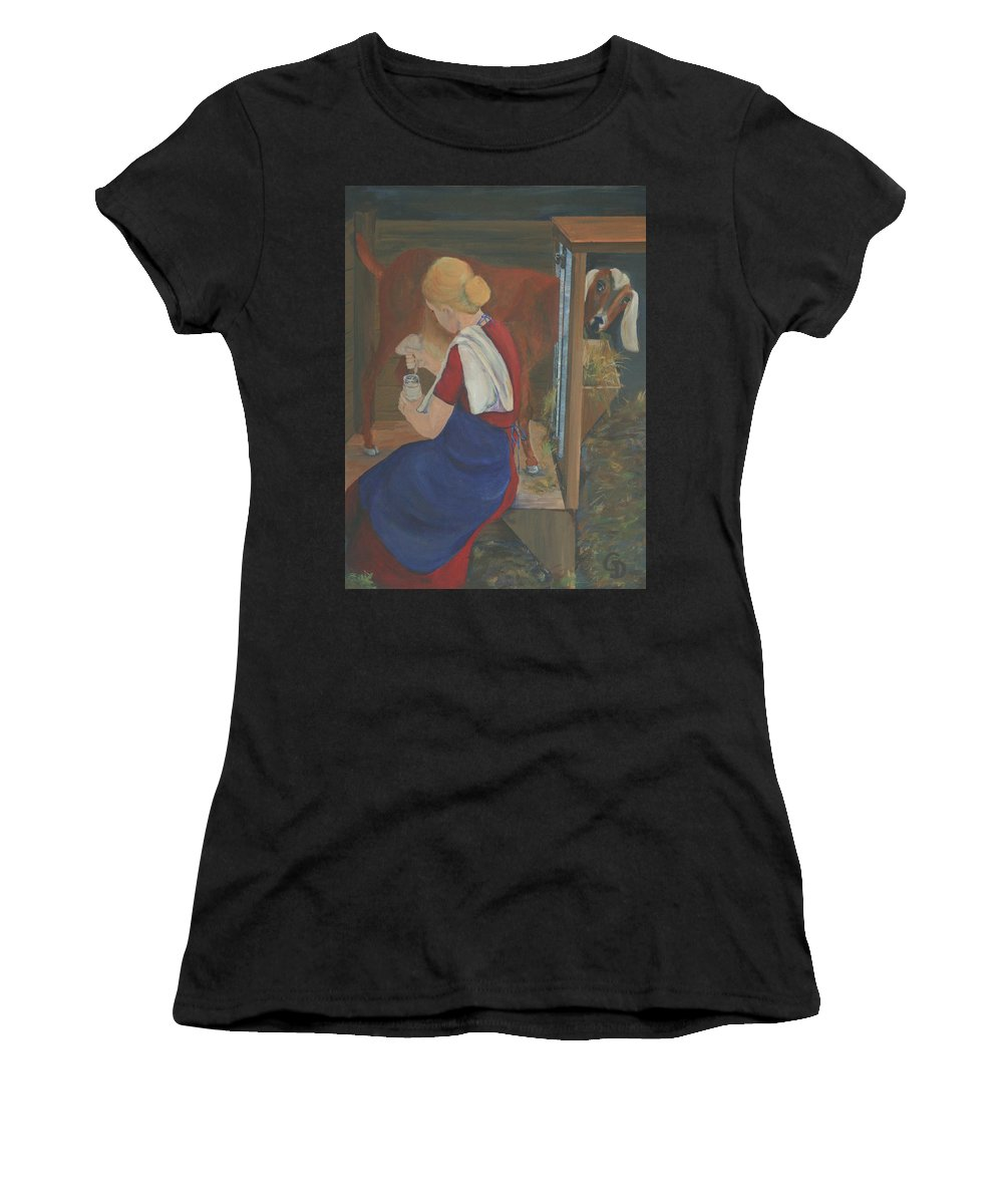 Goats Women's T-Shirt (Athletic Fit) featuring the painting Milkmaid by Gail Daley
