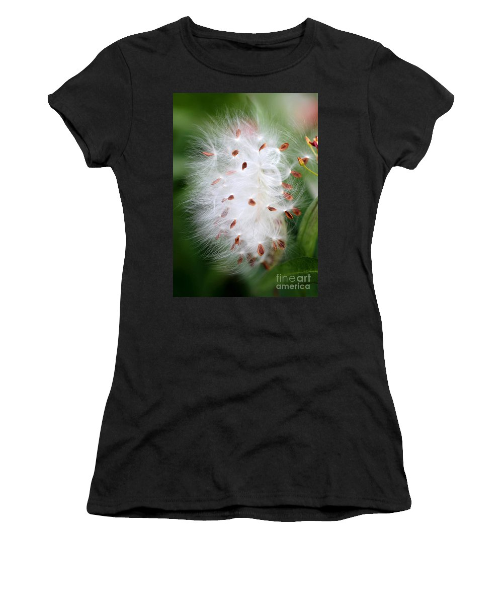 Macro Women's T-Shirt (Athletic Fit) featuring the photograph Milkweed Explosion by Sabrina L Ryan