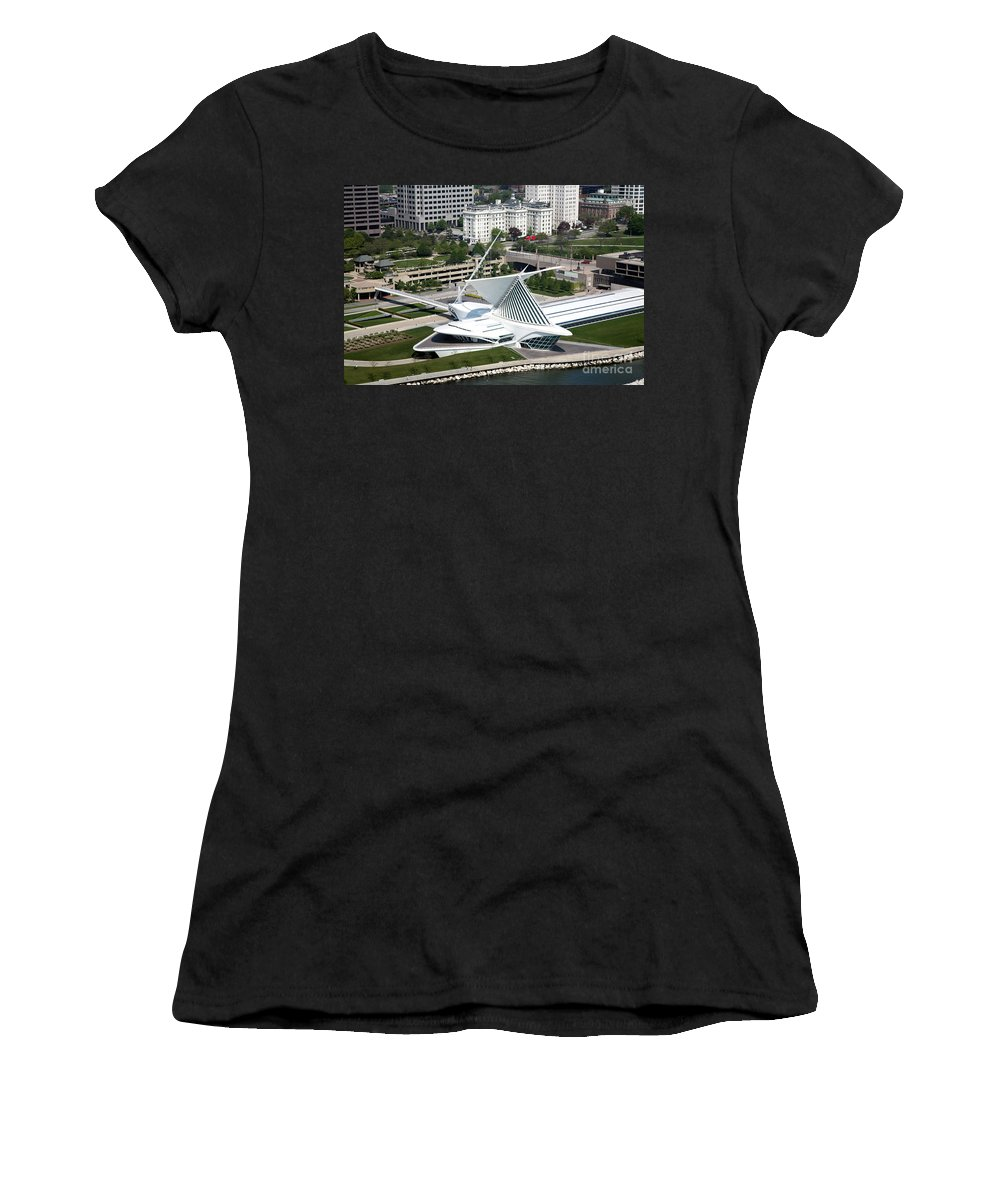Skyline Scenes Women's T-Shirt (Athletic Fit) featuring the photograph Milwaukee Art Museum Aerial by Bill Cobb