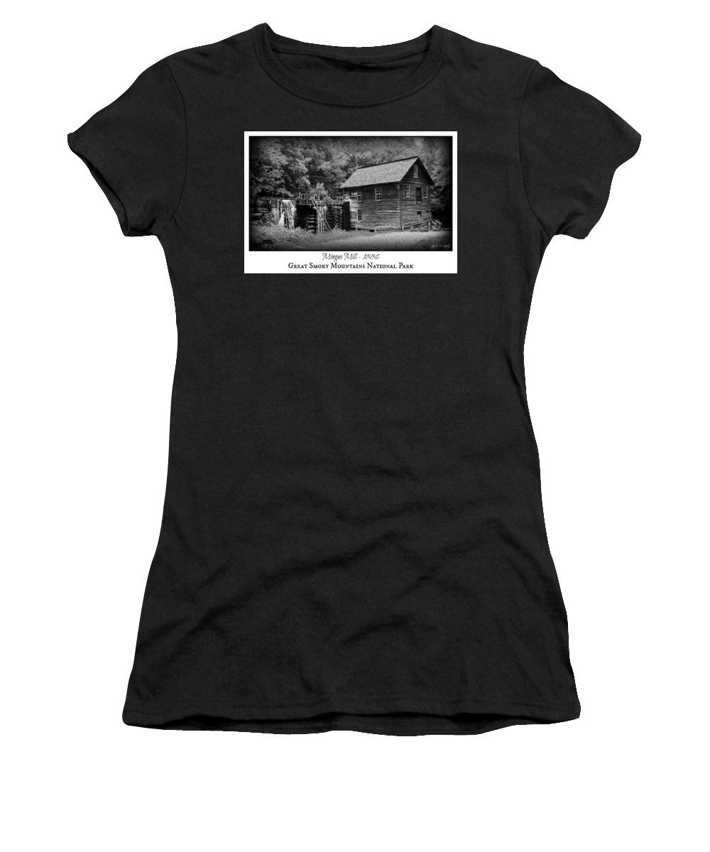 Mingus Mill Women's T-Shirt featuring the photograph Mingus Mill -- Black And White Poster by Stephen Stookey