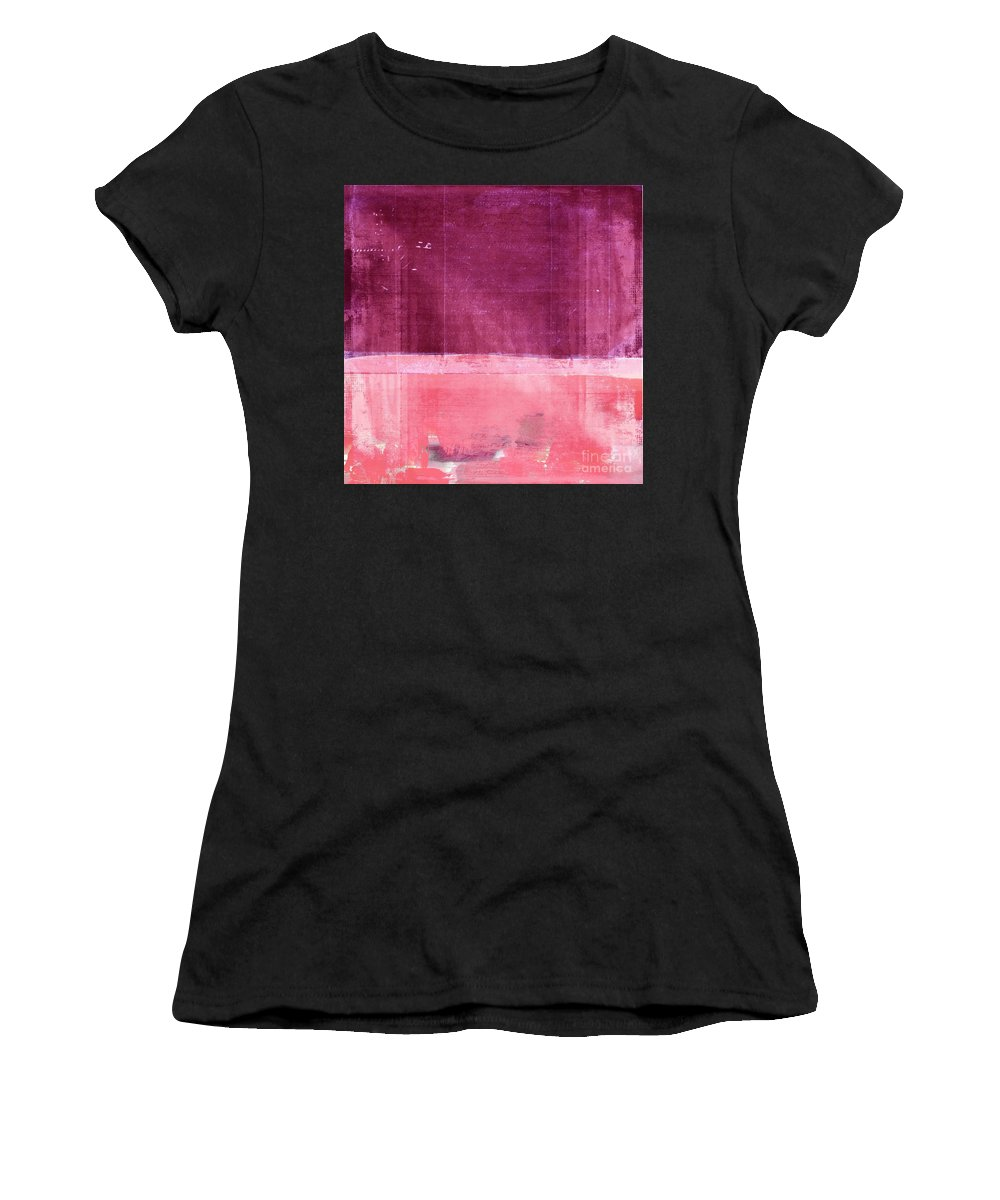 Pink Women's T-Shirt featuring the painting Minima - S02b Pink by Variance Collections