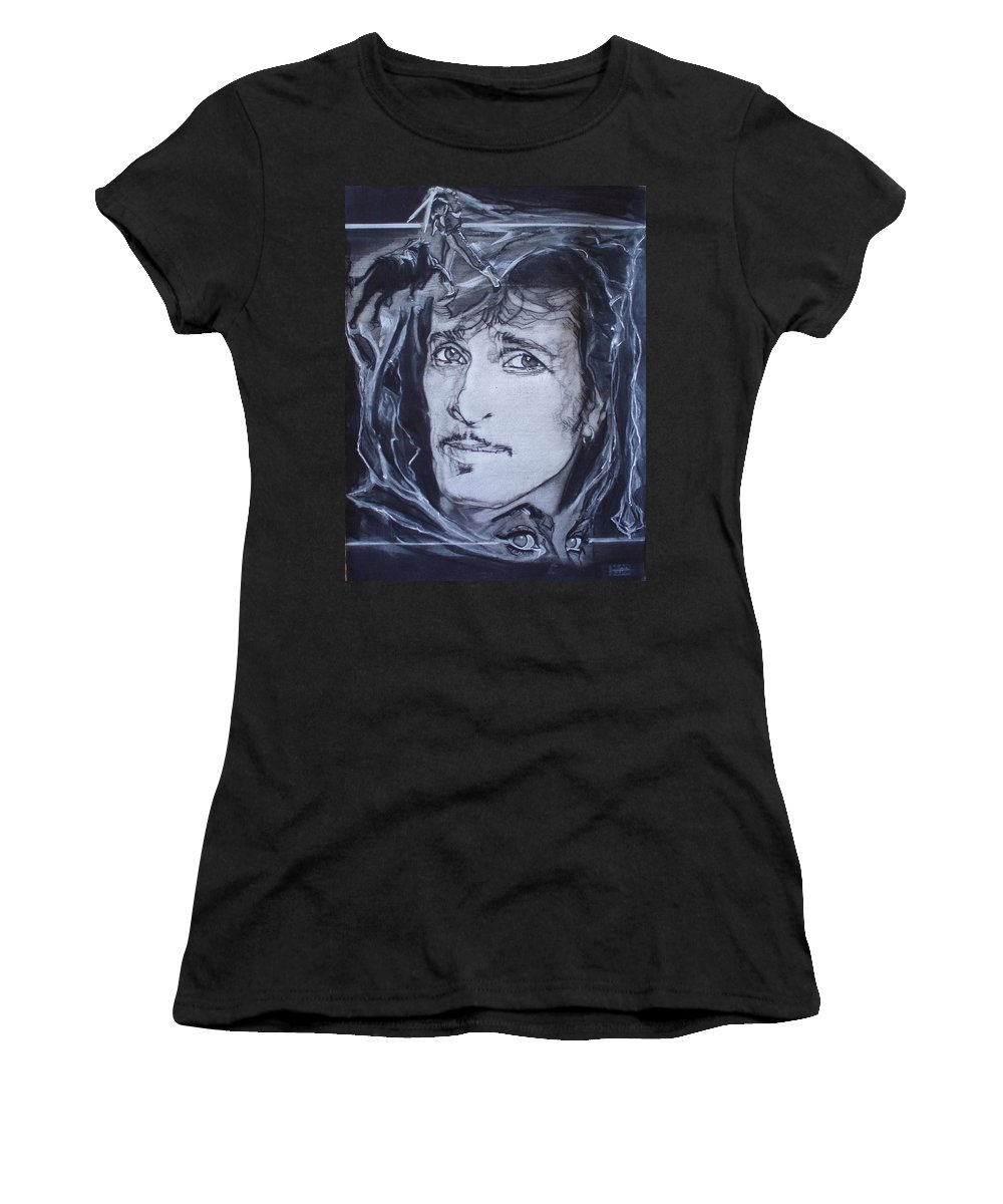 Charcoal;mink Deville;new York City;gina Lollabrigida Eyes ;cat Eyes;bullfight;toreador;swords;death;smoke;blues Women's T-Shirt (Athletic Fit) featuring the drawing Willy Deville - Coup De Grace by Sean Connolly