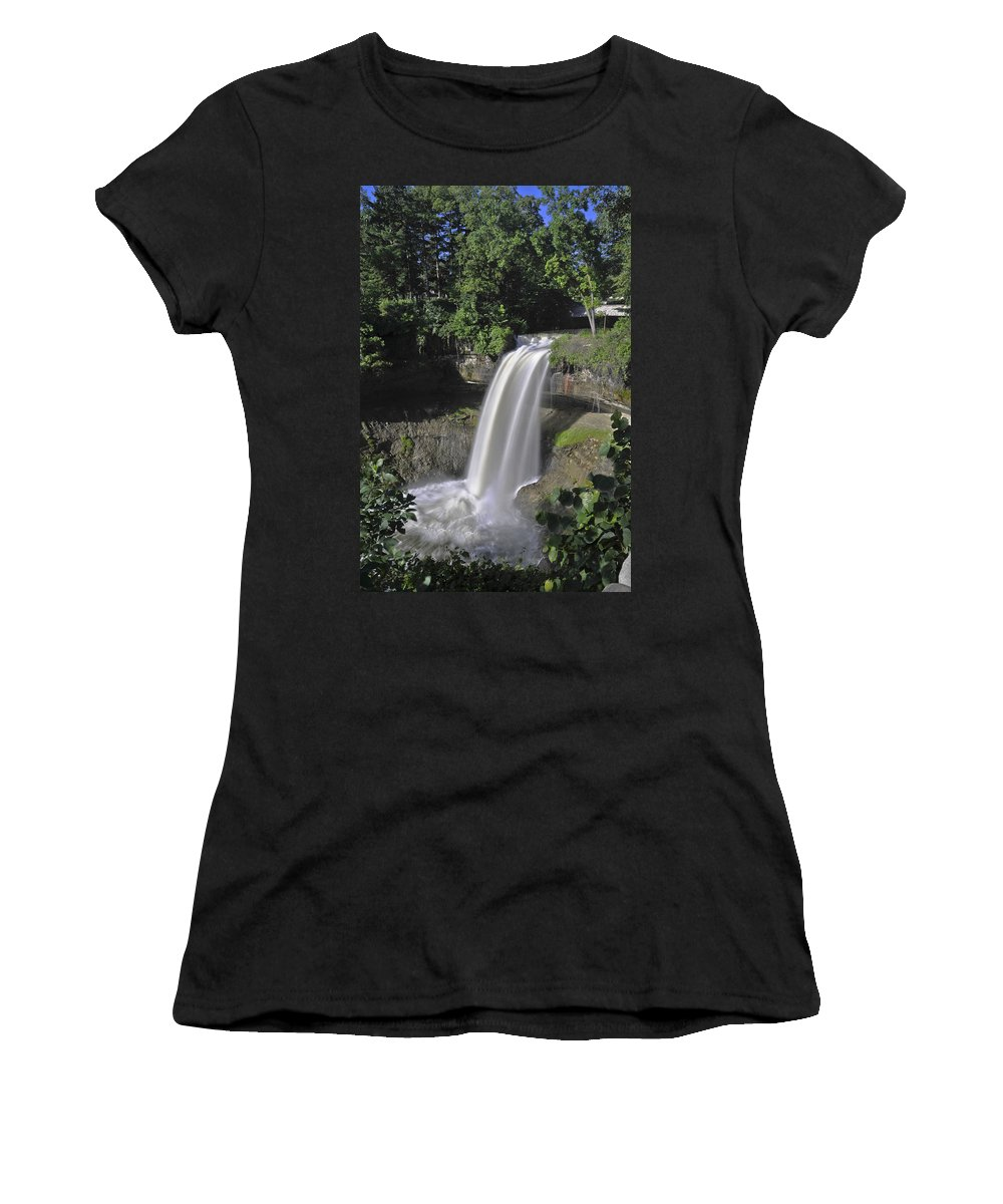Falls Women's T-Shirt (Athletic Fit) featuring the photograph Minnehaha Falls by David Berg