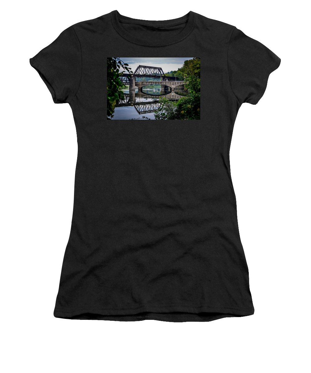 Central Railroad Of New Jersey Women's T-Shirt featuring the photograph Mirrored Bridges by Michael Brooks