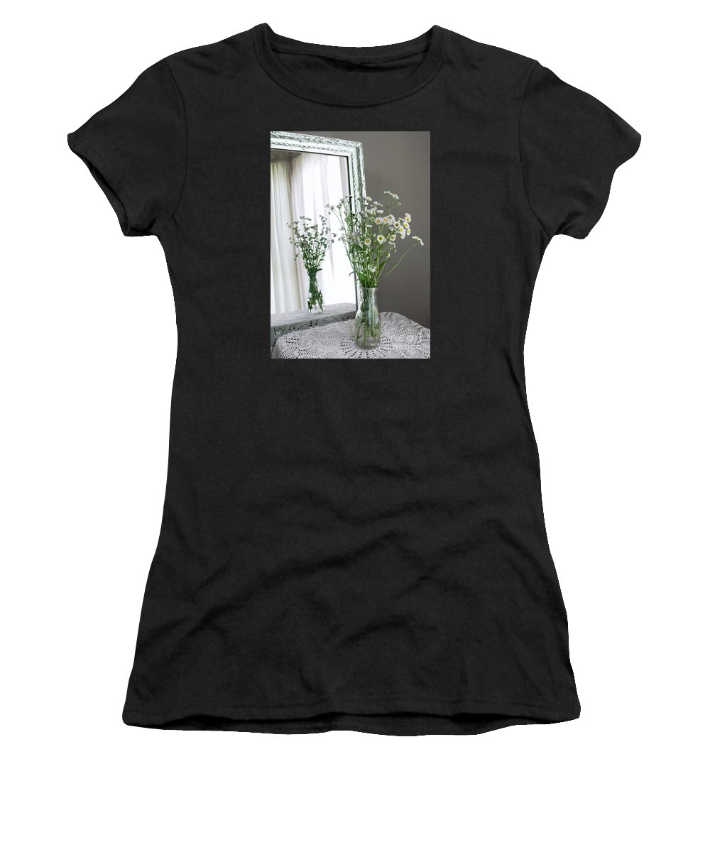 Flowers Women's T-Shirt featuring the photograph Mirrored Daisies by Robin Lynne Schwind