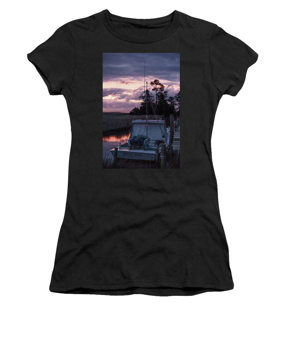 Miss Sue Women's T-Shirt featuring the photograph Miss Sue At Sunrise by Paula OMalley