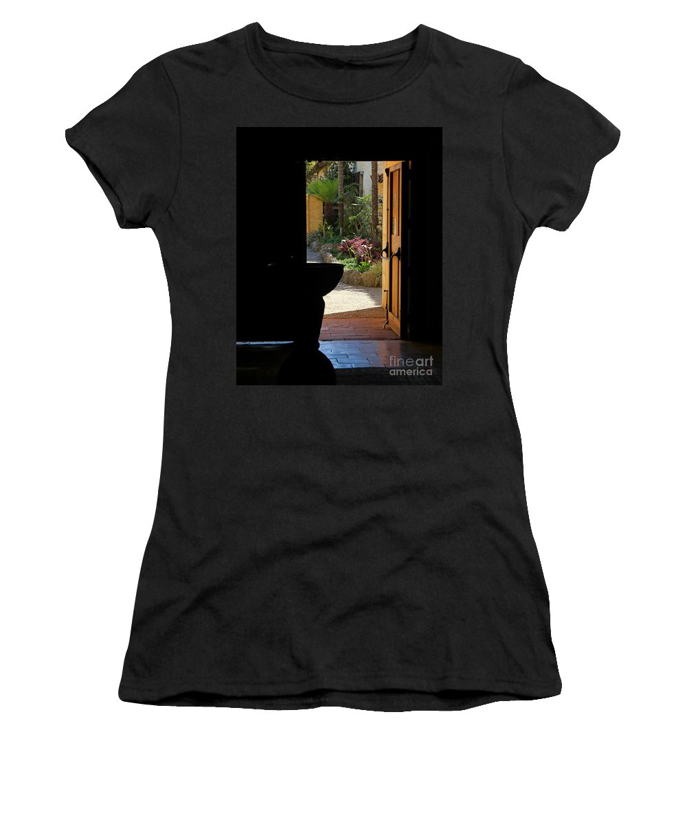 Mission Women's T-Shirt featuring the photograph Missions Side Door by Jack Schultz