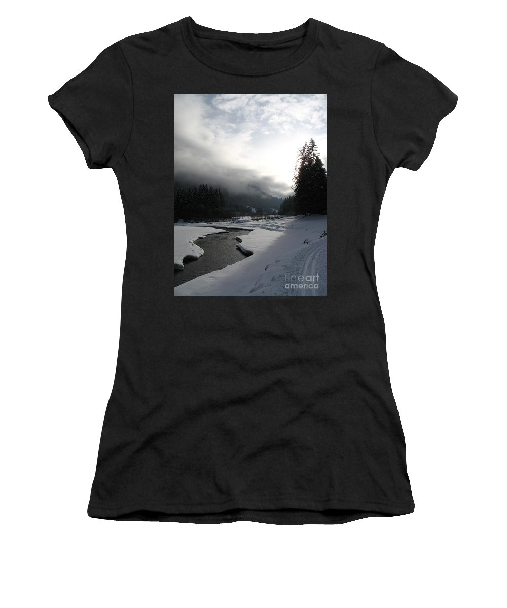 Valley Women's T-Shirt (Athletic Fit) featuring the photograph Mist Over A Snowy Valley by Christiane Schulze Art And Photography