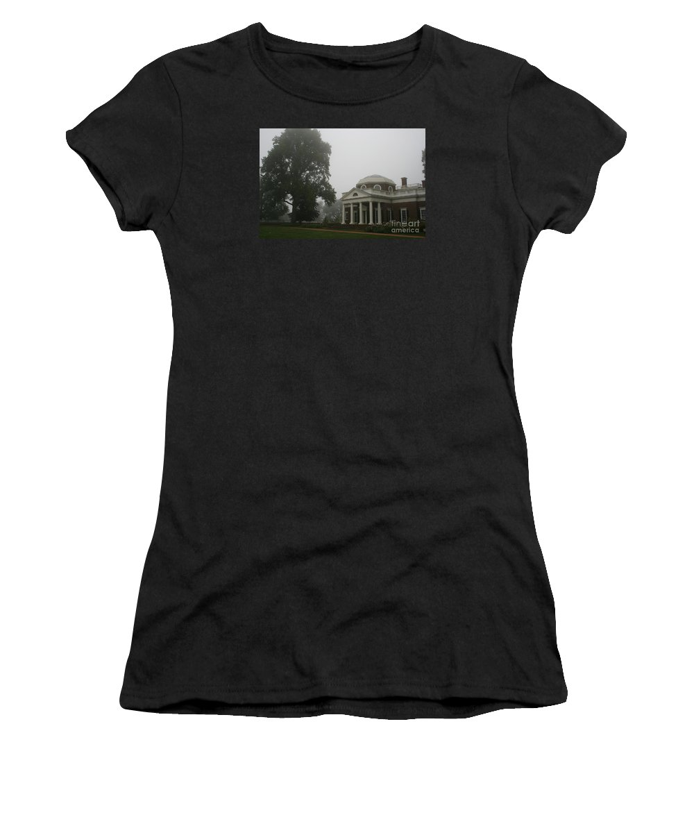 Mist Women's T-Shirt (Athletic Fit) featuring the photograph Misty Morning At Monticello by Christiane Schulze Art And Photography