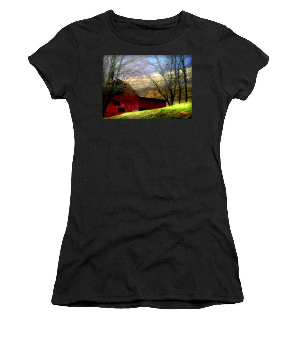 Red Barns Women's T-Shirt featuring the photograph Misty Morning by Karen Wiles