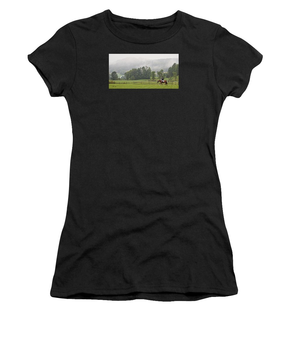 Dressage Women's T-Shirt (Athletic Fit) featuring the photograph Misty Morning Ride by Joan Davis