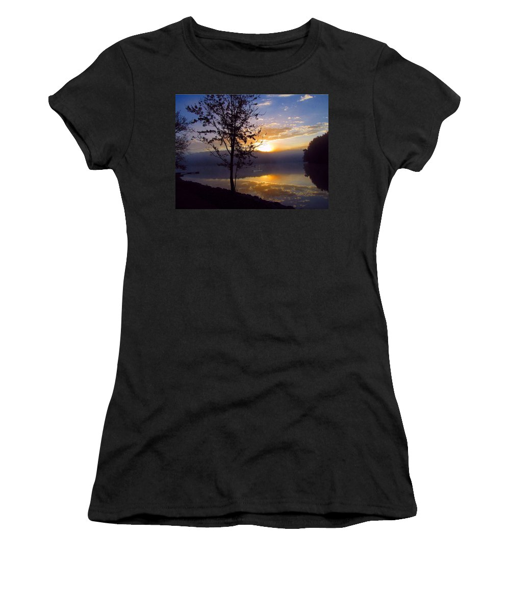 Fishing Women's T-Shirt (Athletic Fit) featuring the photograph Misty Reflections by David Dehner