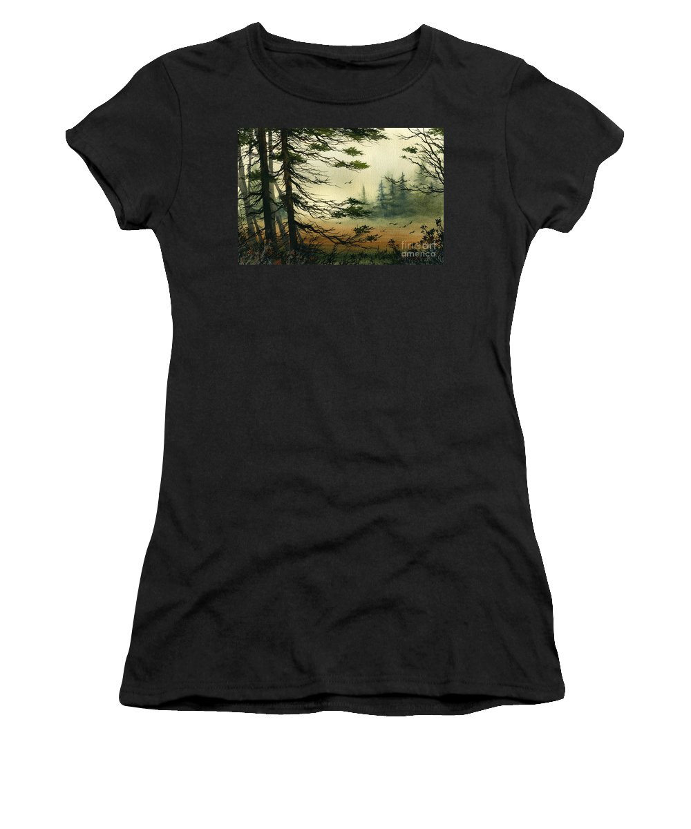 Misty Watercolors Women's T-Shirt (Athletic Fit) featuring the painting Misty Tideland Forest by James Williamson