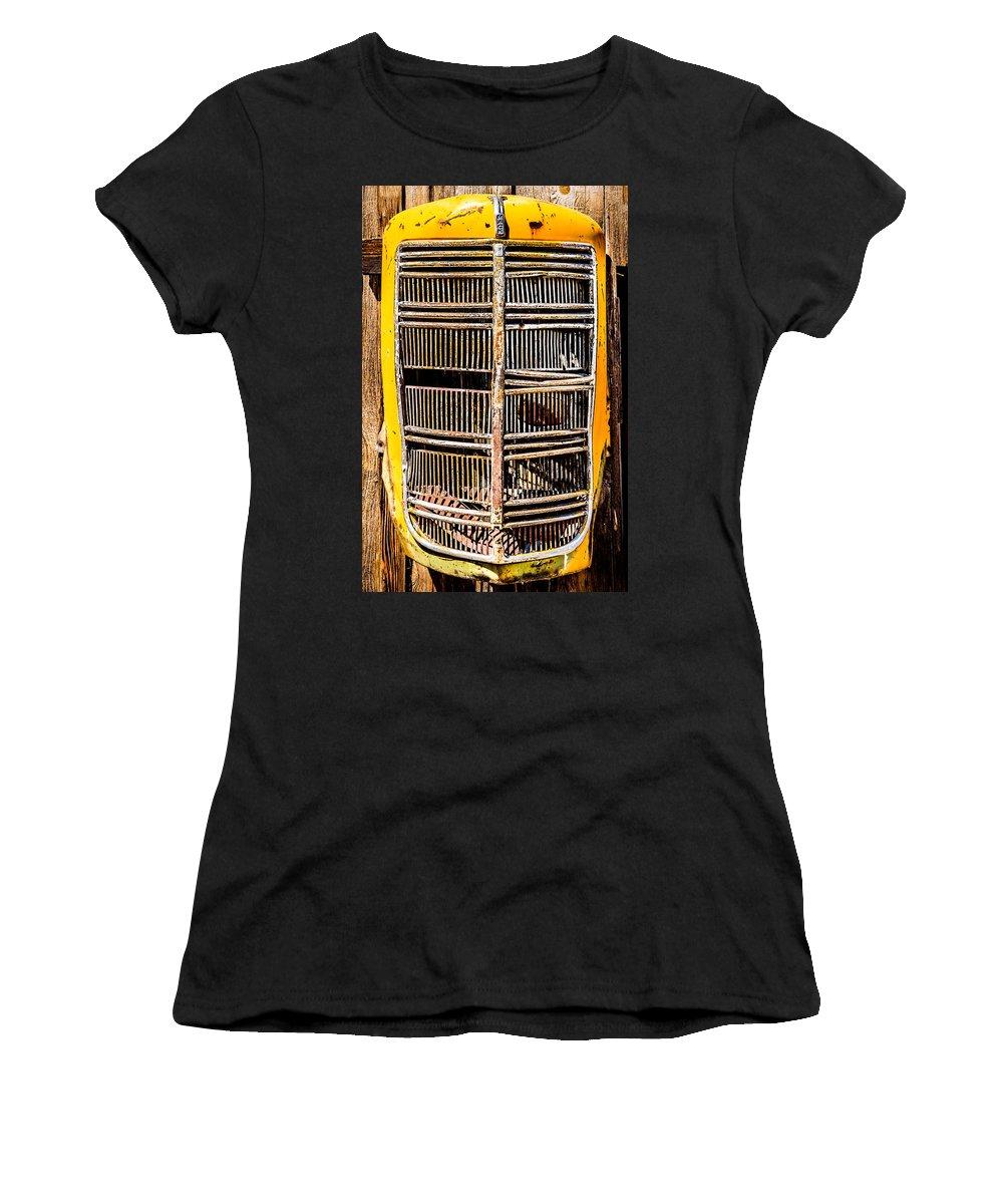 Daniel J. Kmiecik Women's T-Shirt featuring the photograph Model Eg Mack Truck Grill by Onyonet Photo Studios