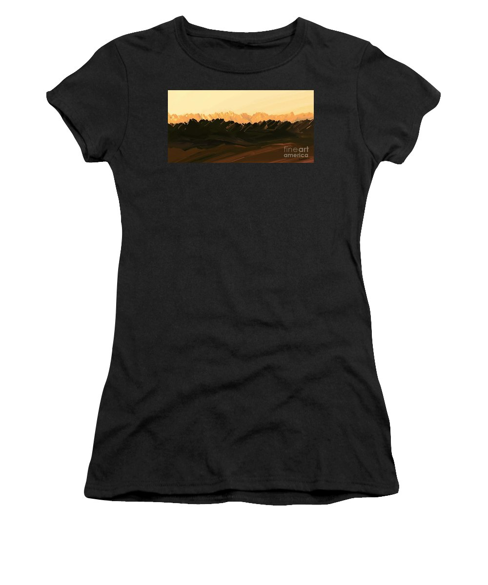 Digital Hand-drawn Painting Women's T-Shirt featuring the painting Mohave Desert Mountains by Tim Richards