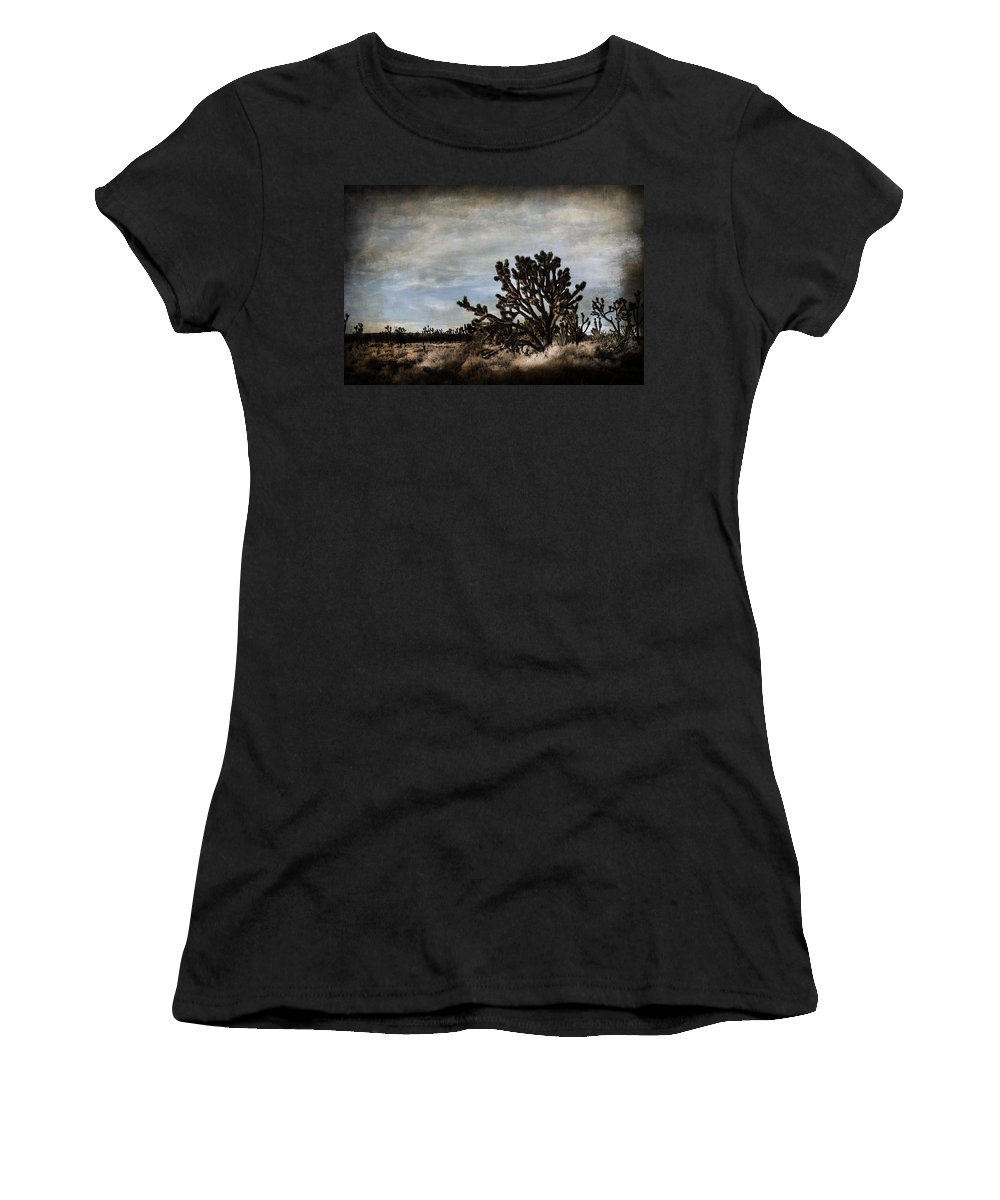 Evie Carrier Women's T-Shirt featuring the photograph Mojave Desert Joshua Tree In Cima by Evie Carrier