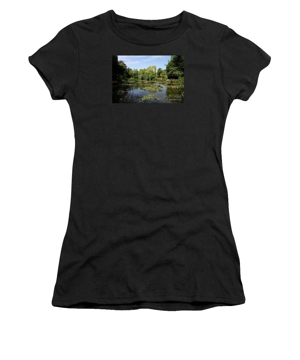 Pond Women's T-Shirt (Athletic Fit) featuring the photograph Monets Waterlily Pond by Christiane Schulze Art And Photography