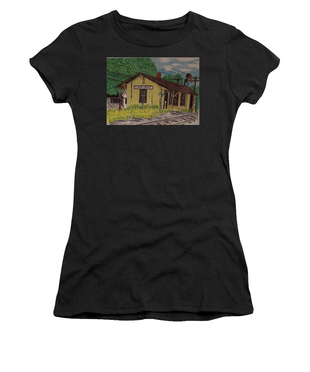 Monon. Monon Train Women's T-Shirt (Athletic Fit) featuring the painting Monon Clear Creek Indiana Train Depot by Kathy Marrs Chandler