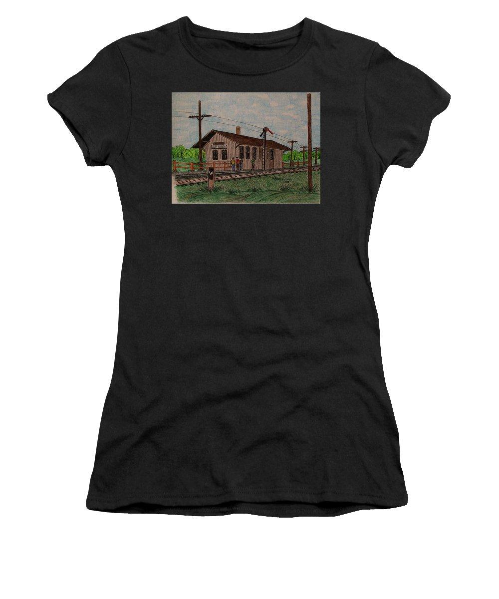 Monon Women's T-Shirt featuring the painting Monon Ellettsville Indiana Train Depot by Kathy Marrs Chandler