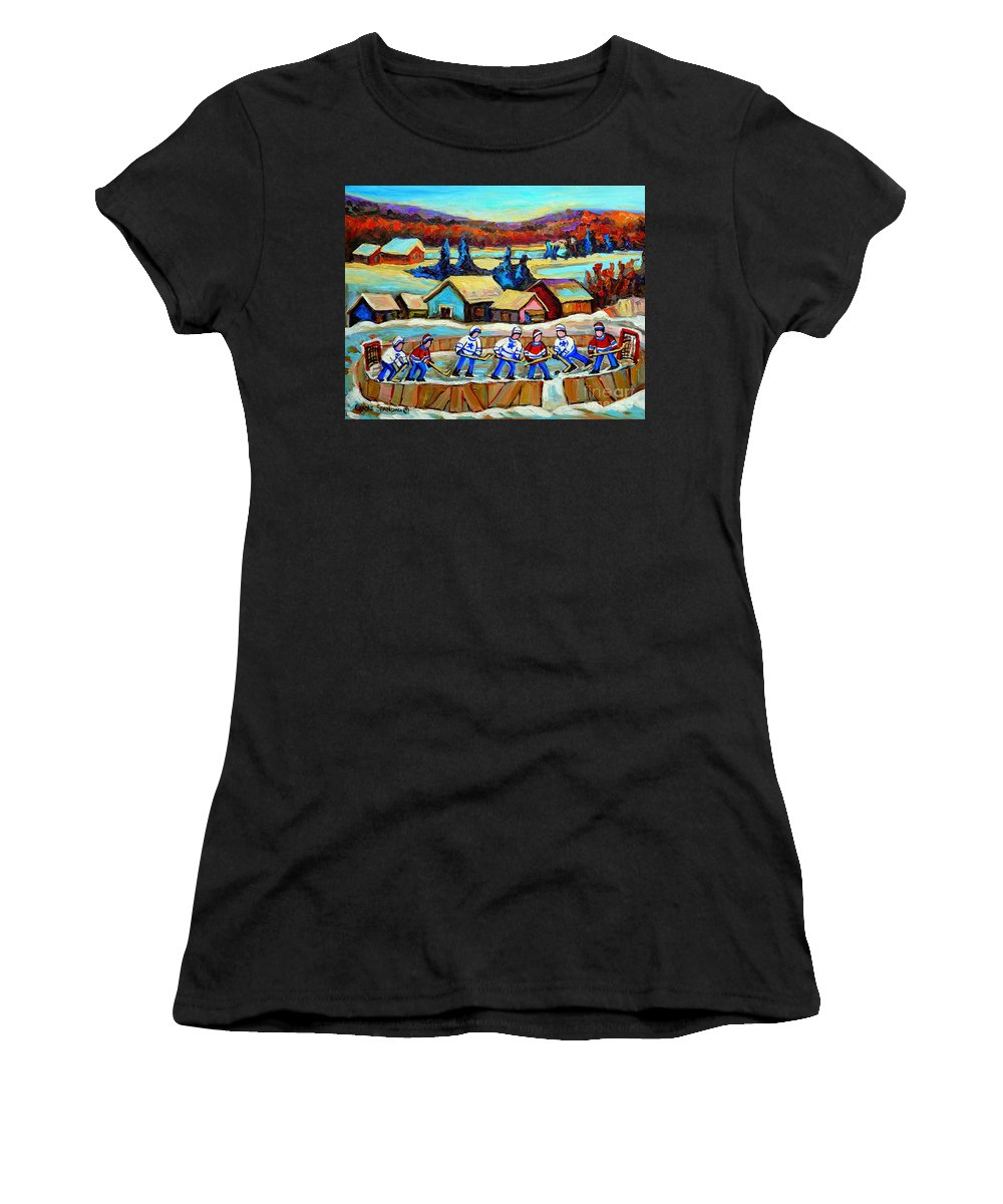 Pond Hockey Women's T-Shirt featuring the painting Montreal Memories Rink Hockey In The Country Hockey Our National Pastime Carole Spandau Paintings by Carole Spandau