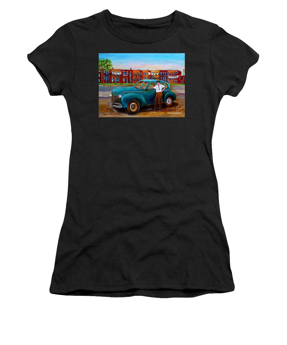 Canadian Art Women's T-Shirt featuring the painting Montreal Taxi Driver 1940 Cab Vintage Car Montreal Memories Row Houses City Scenes Carole Spandau by Carole Spandau