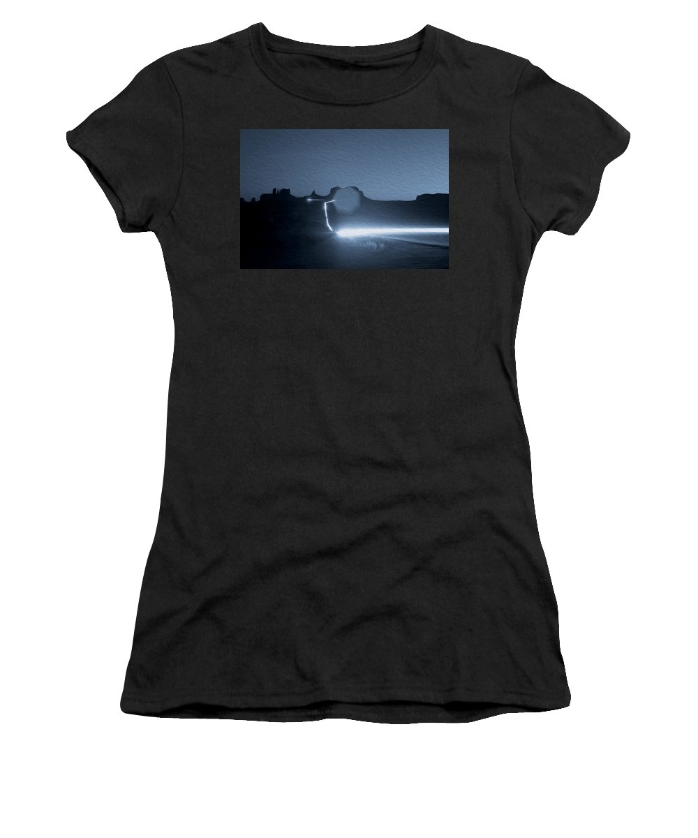 Monument Valley Women's T-Shirt (Athletic Fit) featuring the photograph Monument Valley At Night 2 by Tracy Winter