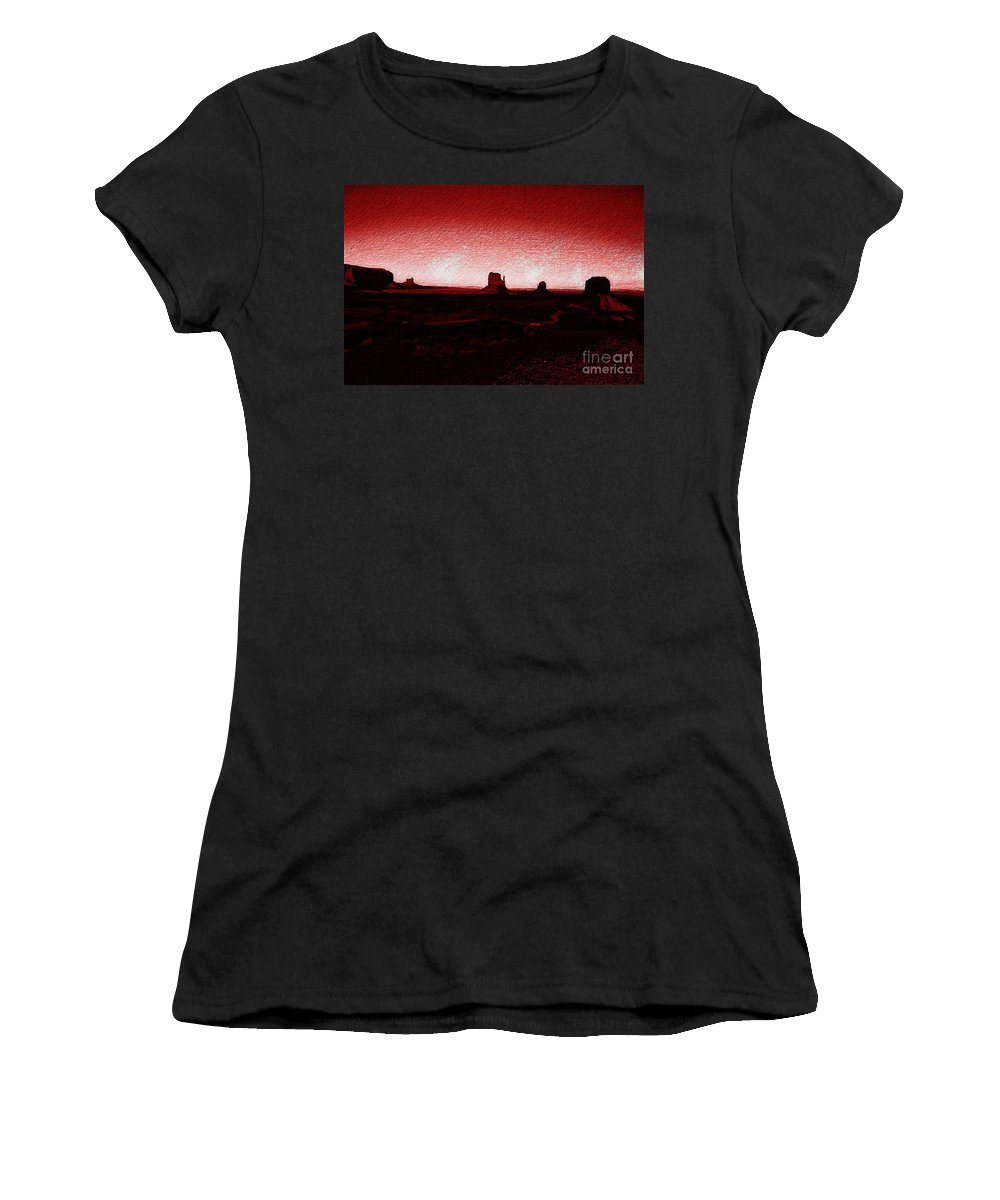 Monument Valley Women's T-Shirt featuring the photograph Monument Valley -utah V5 by Douglas Barnard