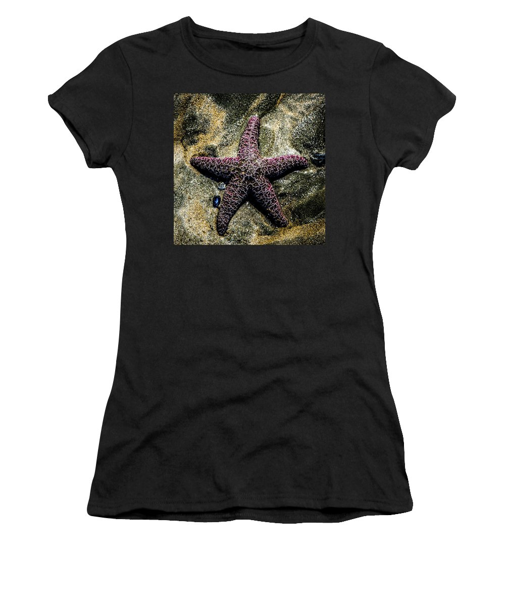 Hidden Women's T-Shirt (Athletic Fit) featuring the photograph Moody Starfish IIi by Roxy Hurtubise