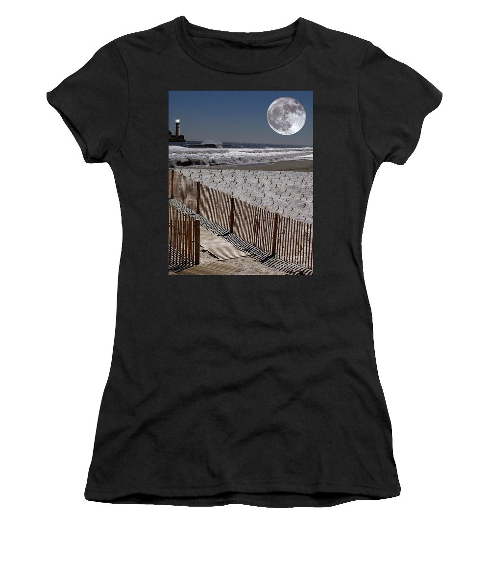 Water Women's T-Shirt (Athletic Fit) featuring the digital art Moon Bay by Keith Dillon