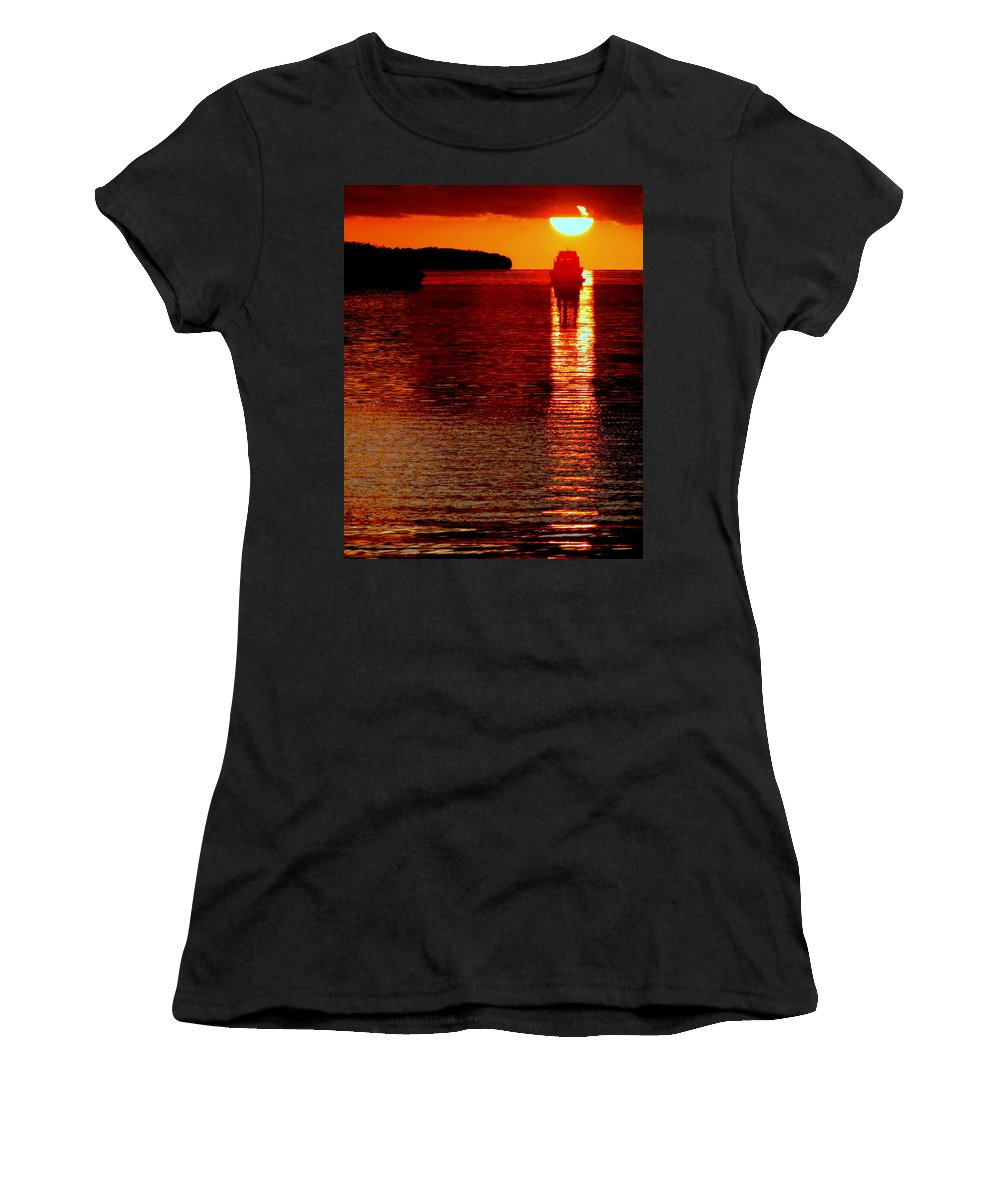 Waterscapes Women's T-Shirt (Athletic Fit) featuring the photograph Moon Dance by Karen Wiles