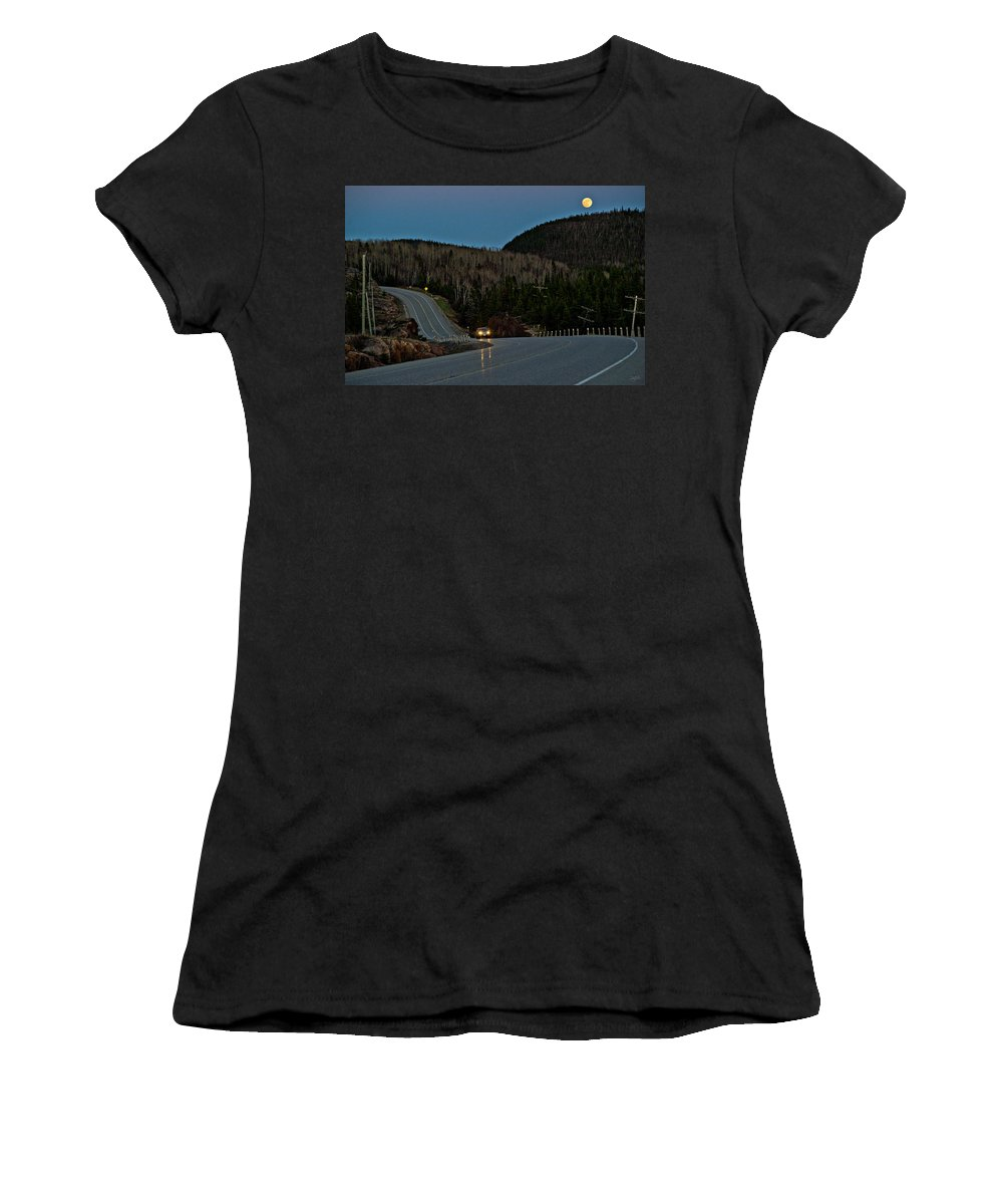 Port Coldwell Women's T-Shirt (Athletic Fit) featuring the photograph Moon Dusk by Doug Gibbons