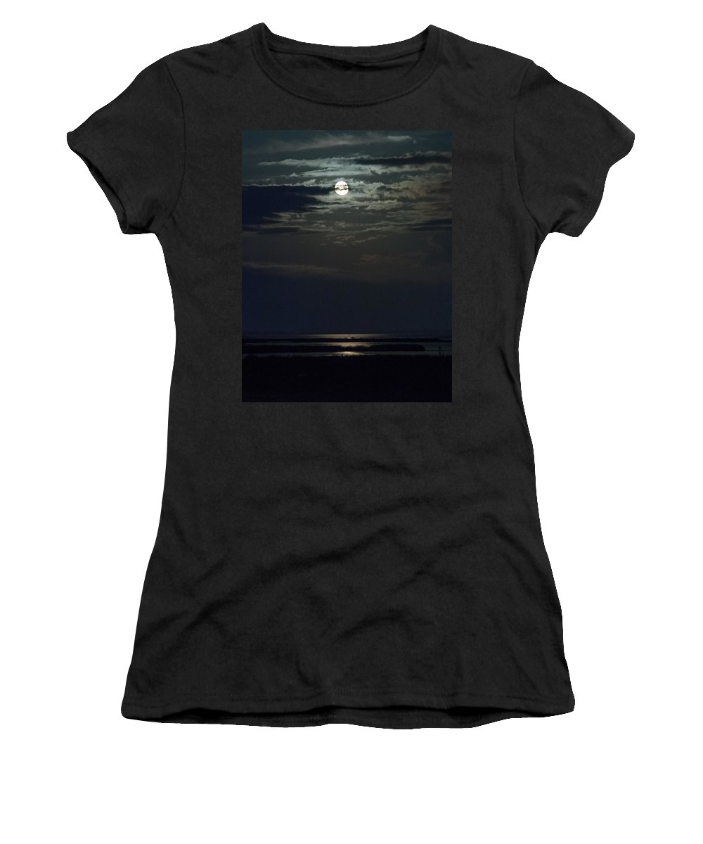 Moon Women's T-Shirt featuring the photograph Moon Over Core Sound by Paula OMalley