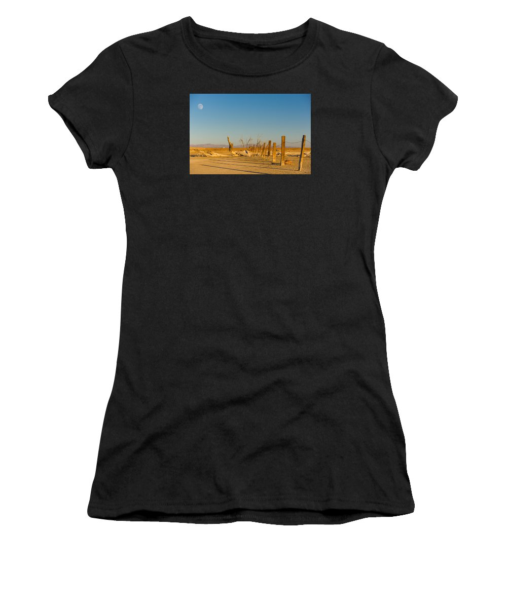 Abandoned Women's T-Shirt (Athletic Fit) featuring the photograph Moon Rise Over Waste Land by Scott Campbell