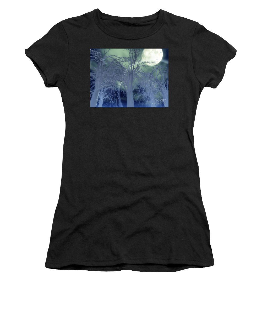 Moon Women's T-Shirt (Athletic Fit) featuring the digital art Moonlight Forest by Eric Nagel