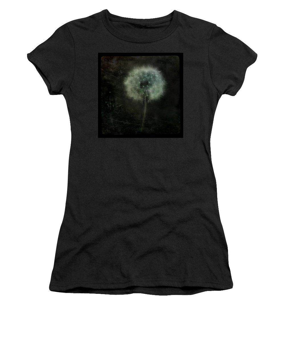 Dandelion Women's T-Shirt (Athletic Fit) featuring the photograph Moonlit Dandelion by Gothicrow Images