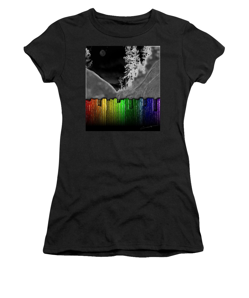 Moon Women's T-Shirt featuring the digital art Moonlit Mountainside Behind Rainbow Fence by Michael Hurwitz