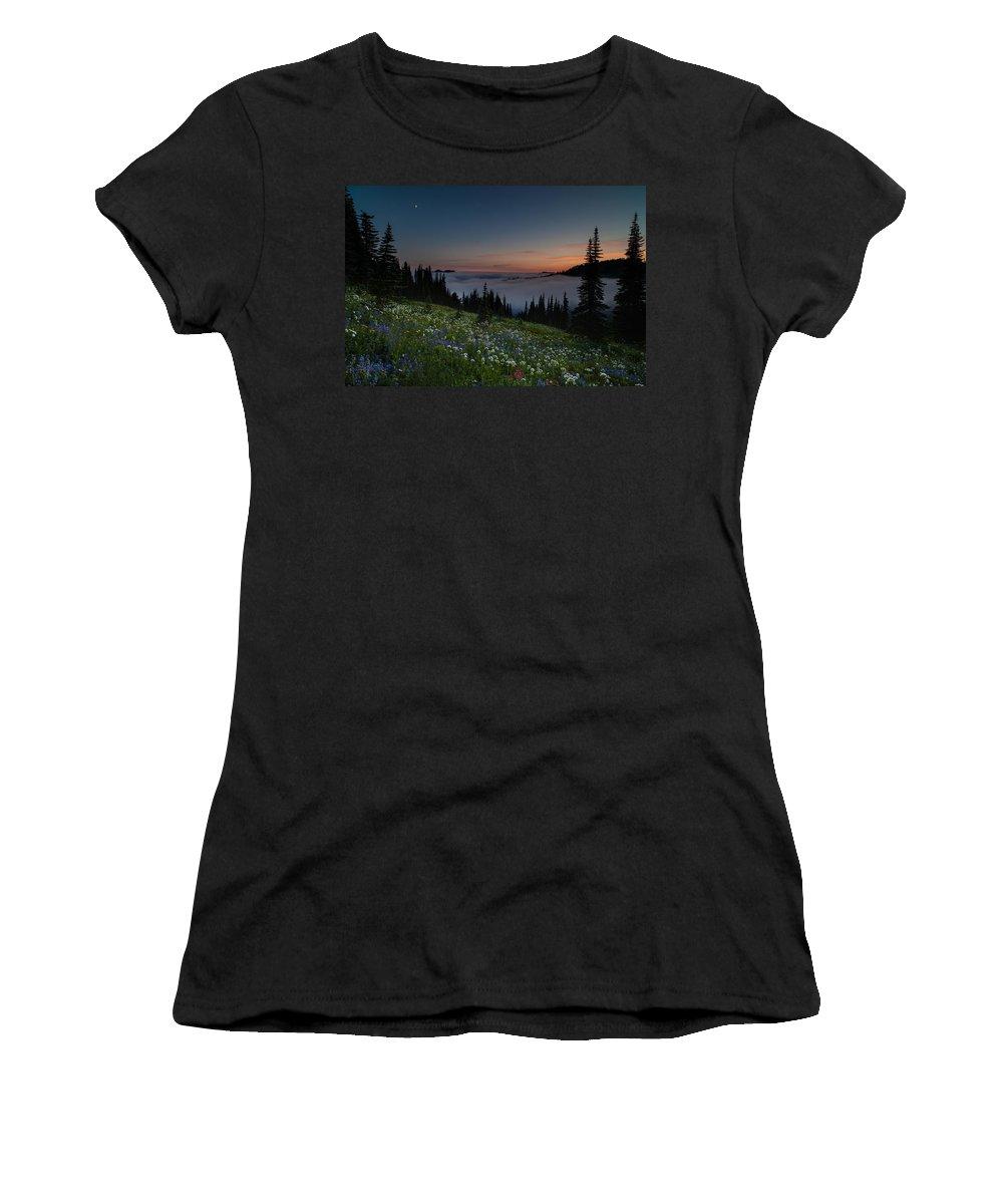 Rainier Women's T-Shirt featuring the photograph Moonlit Rainier Meadows Sunset by Mike Reid