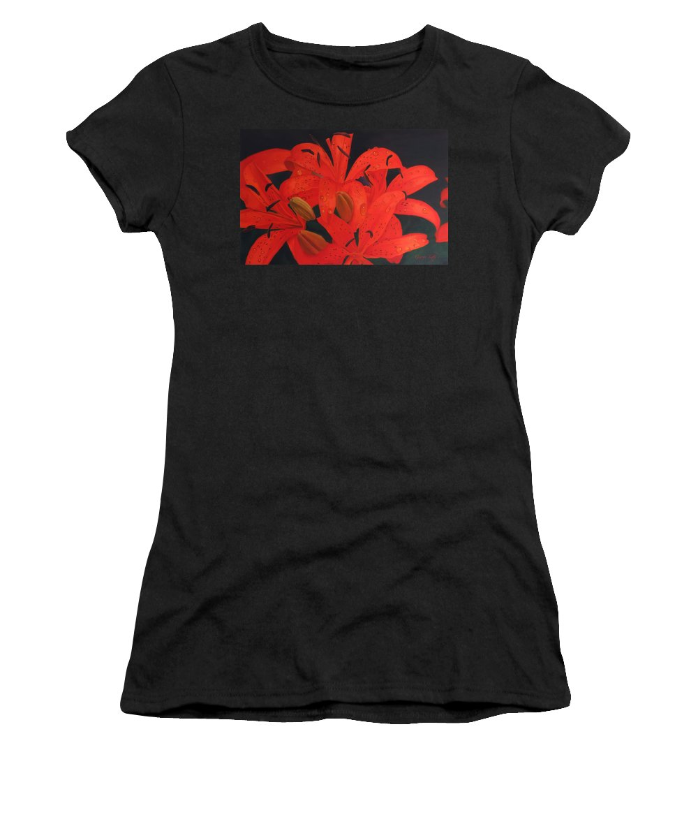 Lilies Flowerpaimtimgs Oilpaintings Still Life Paintings Dew Water Drops Women's T-Shirt (Athletic Fit) featuring the painting Morning Dew by George Tuffy