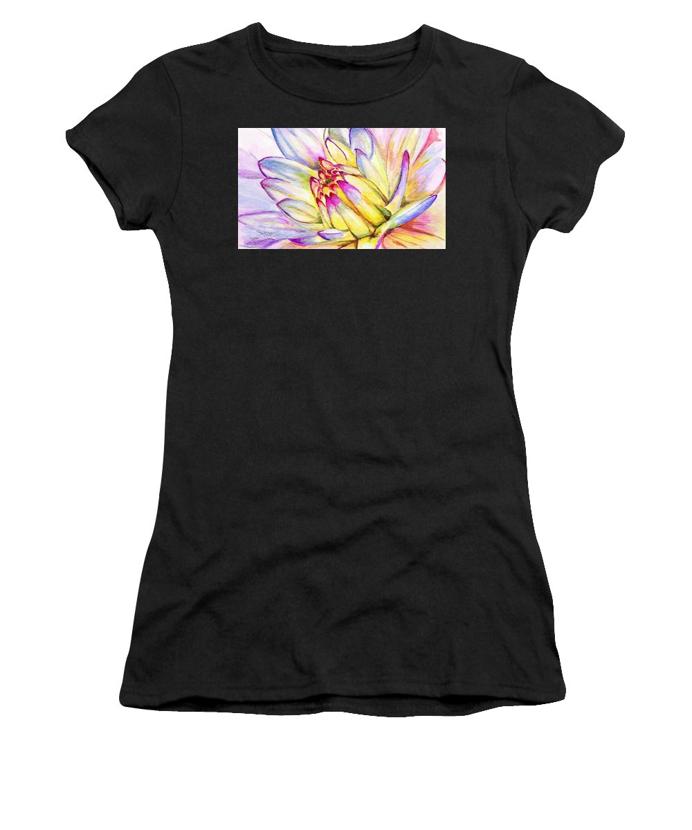 Lotus Women's T-Shirt featuring the digital art Morning Flower by Janet Garcia