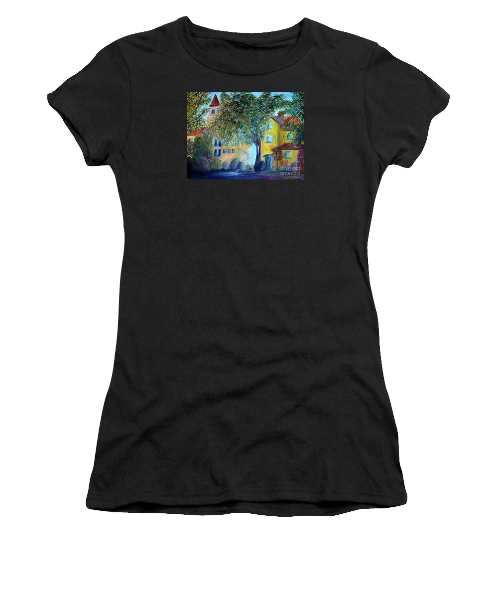 Tuscan Women's T-Shirt featuring the painting Morning In Tuscany by Eloise Schneider Mote