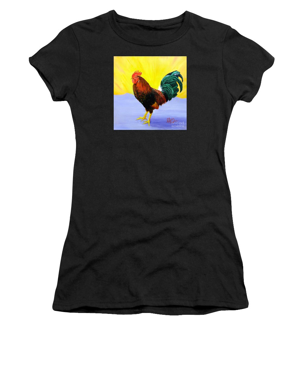 Rooster Women's T-Shirt featuring the painting Morning Serenade by Alicia Fowler