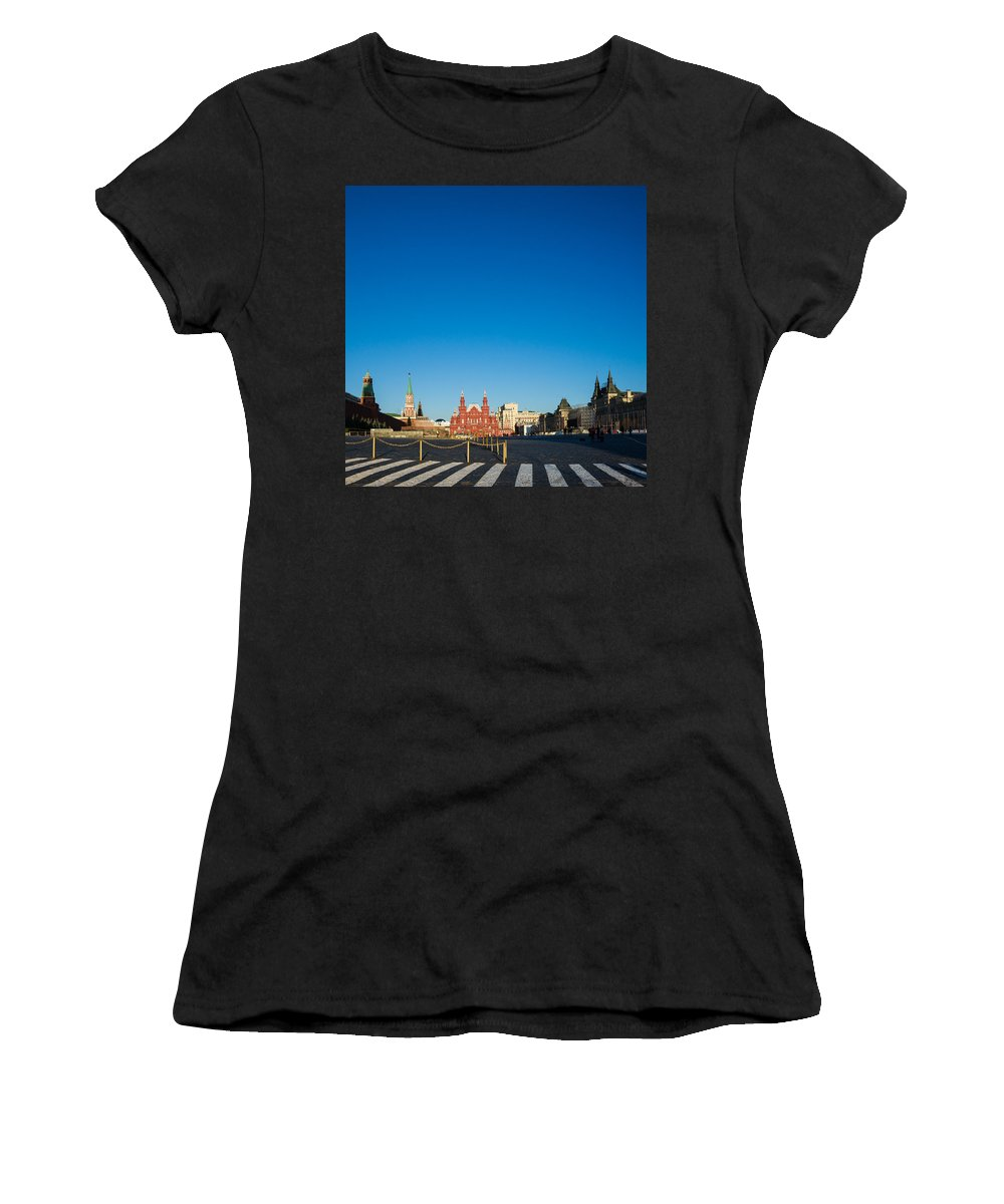 Architecture Women's T-Shirt (Athletic Fit) featuring the photograph Moscow Red Square From South-east To North-west - Square by Alexander Senin